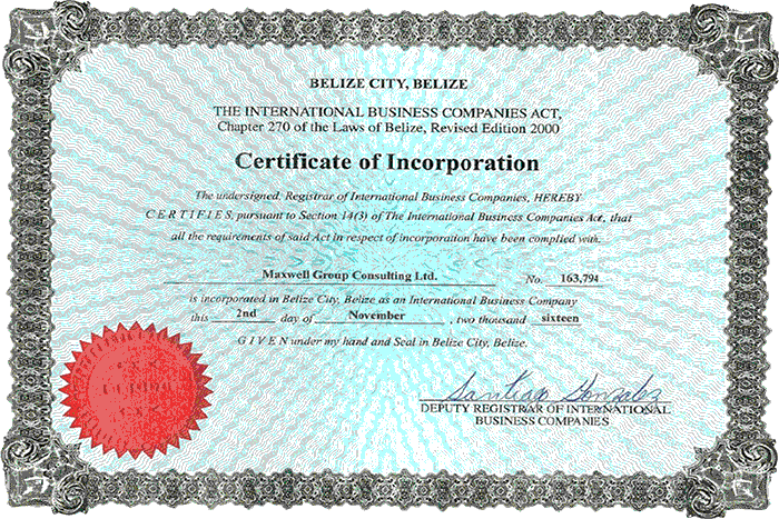 MGC Certificate of Incorporation
